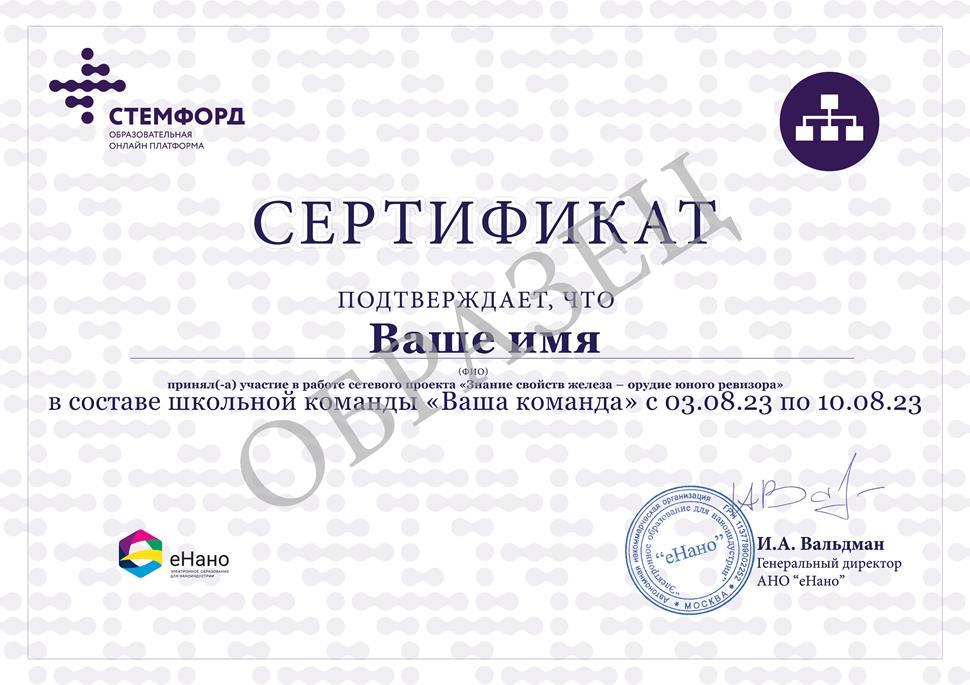 Ваш будущий сертификат: Знание свойств железа – орудие юного ревизора